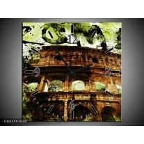 Wandklok op Canvas Rome | Kleur: Groen, Bruin, Zwart | F003329C