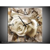 Wandklok op Canvas Roos | Kleur: Wit, Bruin | F003330C