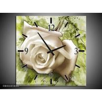 Wandklok op Canvas Roos | Kleur: Wit, Groen | F003333C