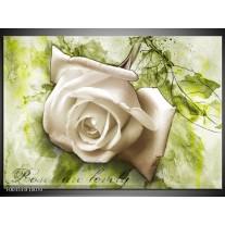 Glas schilderij Roos | Wit, Groen