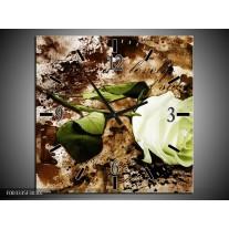Wandklok op Canvas Roos | Kleur: Groen, Bruin, Wit | F003335C