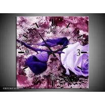 Wandklok op Canvas Roos | Kleur: Paars, Wit, Roze | F003336C