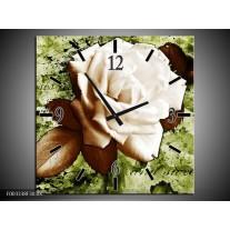 Wandklok op Canvas Roos | Kleur: Bruin, Wit, Groen | F003338C