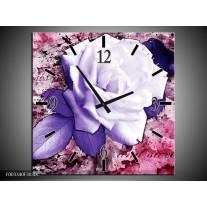 Wandklok op Canvas Roos | Kleur: Paars, Wit, Roze | F003340C