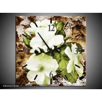 Wandklok op Canvas Bloem | Kleur: Bruin, Groen, Zwart | F003342C