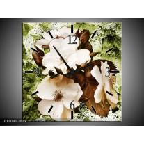 Wandklok op Canvas Bloem | Kleur: Bruin, Groen, Zwart | F003343C