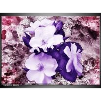 Foto canvas schilderij Bloem | Paars, Wit, Roze