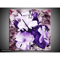 Wandklok op Canvas Bloem | Kleur: Paars, Wit, Roze | F003344C