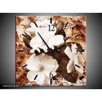 Wandklok op Canvas Bloem | Kleur: Bruin, Wit, Sepia | F003345C