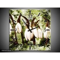 Wandklok op Canvas Bloem | Kleur: Groen, Bruin, Wit | F003347C