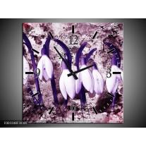 Wandklok op Canvas Bloem | Kleur: Paars, Wit | F003348C