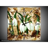 Wandklok op Canvas Bloem   Kleur: Groen, Bruin, Wit   F003349C