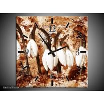 Wandklok op Canvas Bloem | Kleur: Bruin, Wit | F003350C