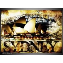Glas schilderij Sydney | Geel, Bruin, Zwart