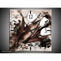 Wandklok op Canvas Tulpen   Kleur: Bruin, Zwart, Wit   F003354C