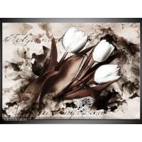 Glas schilderij Tulpen | Bruin, Zwart, Wit