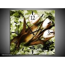 Wandklok op Canvas Tulpen | Kleur: Groen, Bruin, Wit | F003355C