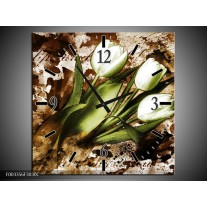 Wandklok op Canvas Tulpen | Kleur: Groen, Bruin, Wit | F003356C