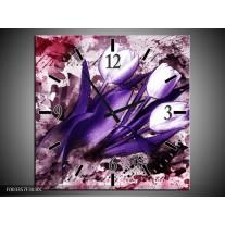 Wandklok op Canvas Tulpen | Kleur: Paars, Wit, Roze | F003357C