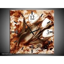 Wandklok op Canvas Tulpen | Kleur: Bruin, Wit | F003358C