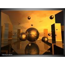Glas schilderij Abstract | Goud, Geel, Bruin