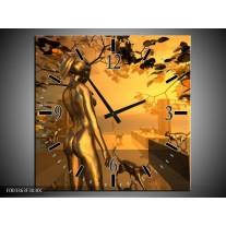 Wandklok op Canvas Abstract | Kleur: Goud, Geel, Bruin | F003363C