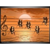 Glas schilderij Muziek | Goud, Geel, Bruin