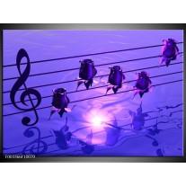 Glas schilderij Muziek | Paars, Wit