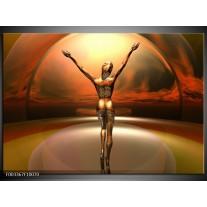 Foto canvas schilderij Abstract | Rood, Bruin, Geel