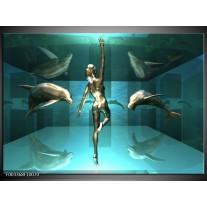 Glas schilderij Dolfijn   Blauw, Goud, Bruin