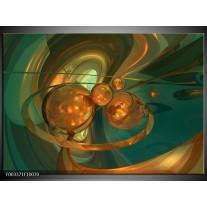 Glas schilderij Abstract | Blauw, Goud, Bruin