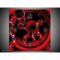 Wandklok op Canvas Abstract | Kleur: Rood, Zwart | F003378C