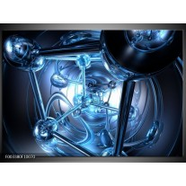 Foto canvas schilderij Abstract | Blauw, Wit, Zwart