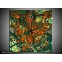 Wandklok op Canvas Abstract | Kleur: Groen, Bruin | F003383C