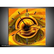 Wandklok op Canvas Abstract | Kleur: Geel, Goud, Zwart | F003386C