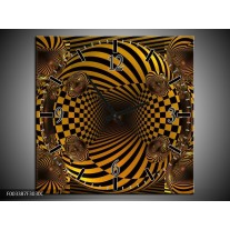 Wandklok op Canvas Abstract | Kleur: Geel, Zwart | F003387C