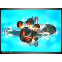 Glas schilderij Abstract | Blauw, Bruin, Wit