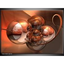Glas schilderij Abstract | Bruin, Goud