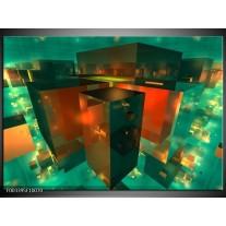 Glas schilderij Abstract | Blauw, Groen, Rood