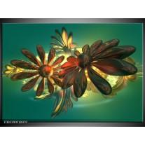 Foto canvas schilderij Bloem | Groen, Geel, Rood