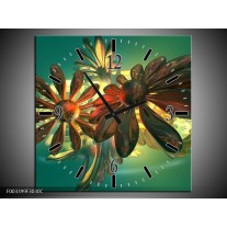 Wandklok op Canvas Bloem | Kleur: Groen, Geel, Rood | F003399C
