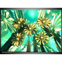 Glas schilderij Bloem | Blauw, Geel, Wit