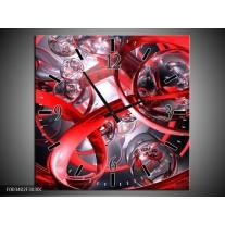 Wandklok op Canvas Abstract   Kleur: Rood, Zwart, Wit   F003402C