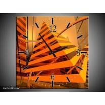 Wandklok op Canvas Abstract | Kleur: Geel, Oranje, Bruin | F003403C