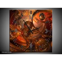 Wandklok op Canvas Abstract | Kleur: Geel, Oranje, Bruin | F003404C