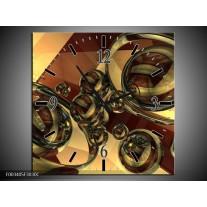 Wandklok op Canvas Abstract | Kleur: Creme, Bruin | F003405C