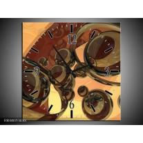 Wandklok op Canvas Abstract | Kleur: Creme, Bruin | F003407C