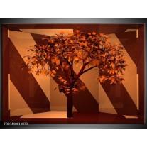 Foto canvas schilderij Boom | Bruin, Rood