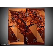Wandklok op Canvas Boom | Kleur: Bruin, Rood | F003410C