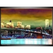 Foto canvas schilderij Brug | Geel, Groen, Blauw